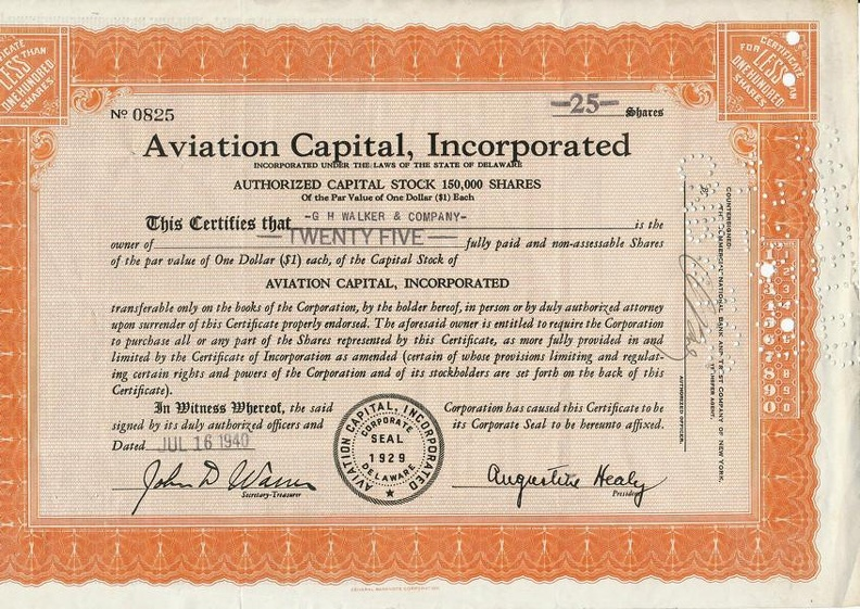 AVIATION Cpital, Incorporated von 1940 Nr. 0825