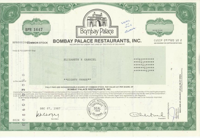 BOMBAY PALACE RESTAURANTS, INC. von1987 Nr. BPR 1647