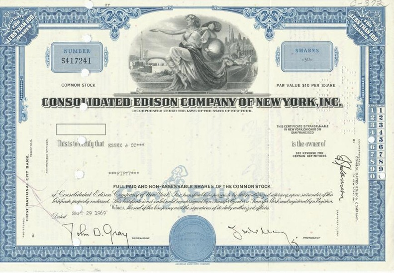 CONSOLIDATED EDISON COMPANY OF NEW YORK, INC. von 1969 Nr.S417241