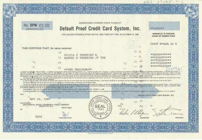 Default Proof Credit Card System, Inc. von 1987 Nr. DPW 0130