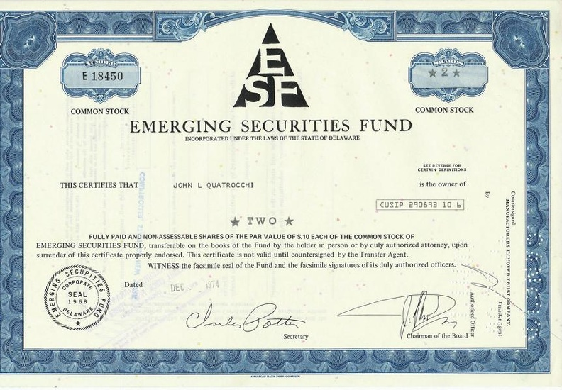 EMERGING SECURITIES FUND von 1974 Nr. E 18450