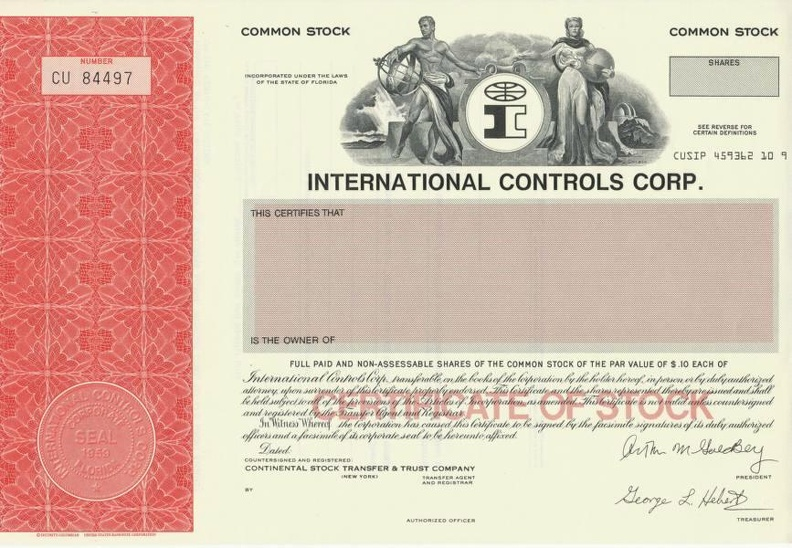 INTERNATIONAL CONTROLS CORP Nr. CU 84497